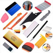 Foshio Vinyl Koolstofvezel Schraper Tool Kit Venster Huishoudelijke Cleaner Tint Magneet Stok Zuigmond Cutter Auto Styling Accessoires