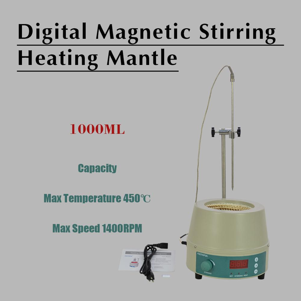 1000ml Electric Digital LCD Magnetic Stirring Heating Mantle 842℉ 350W 0-1400prm
