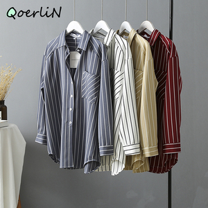 High Quality Office Women Blouse Striped Shirt Long Sleeve Shirt Female Blusas Office Workwear Long Blouse Vintage Casual Tops