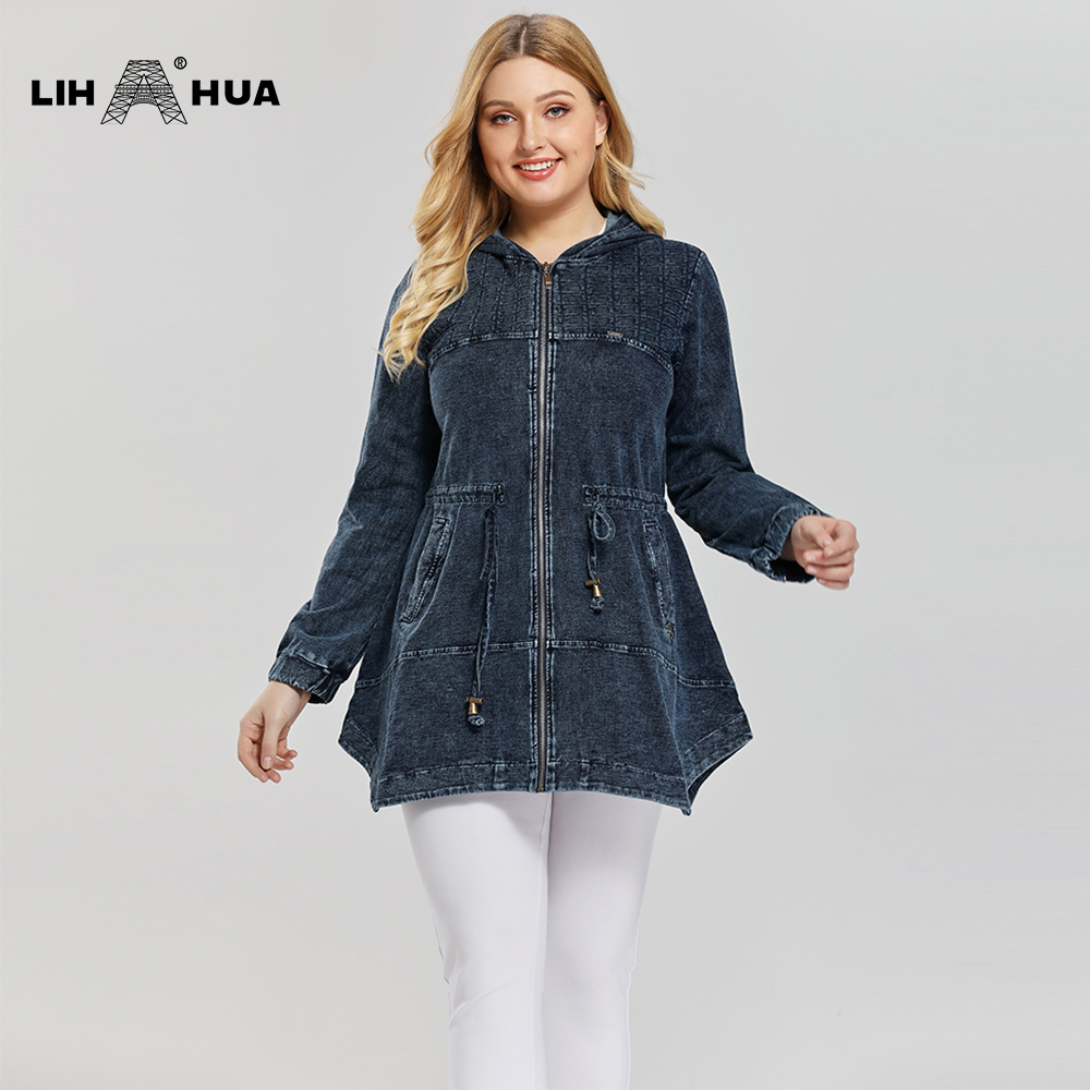 LIH HUA Women's Plus Size Casual Fashion Denim Jacket Premium Stretch Knitted Denim With Shoulder Pads