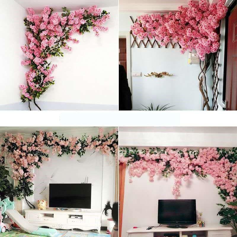 Искусственный набор вишня еды ротанга Свадебные настенные украшения, цветок Крытый Гостиная украшения ложным цветок Фаттах французский