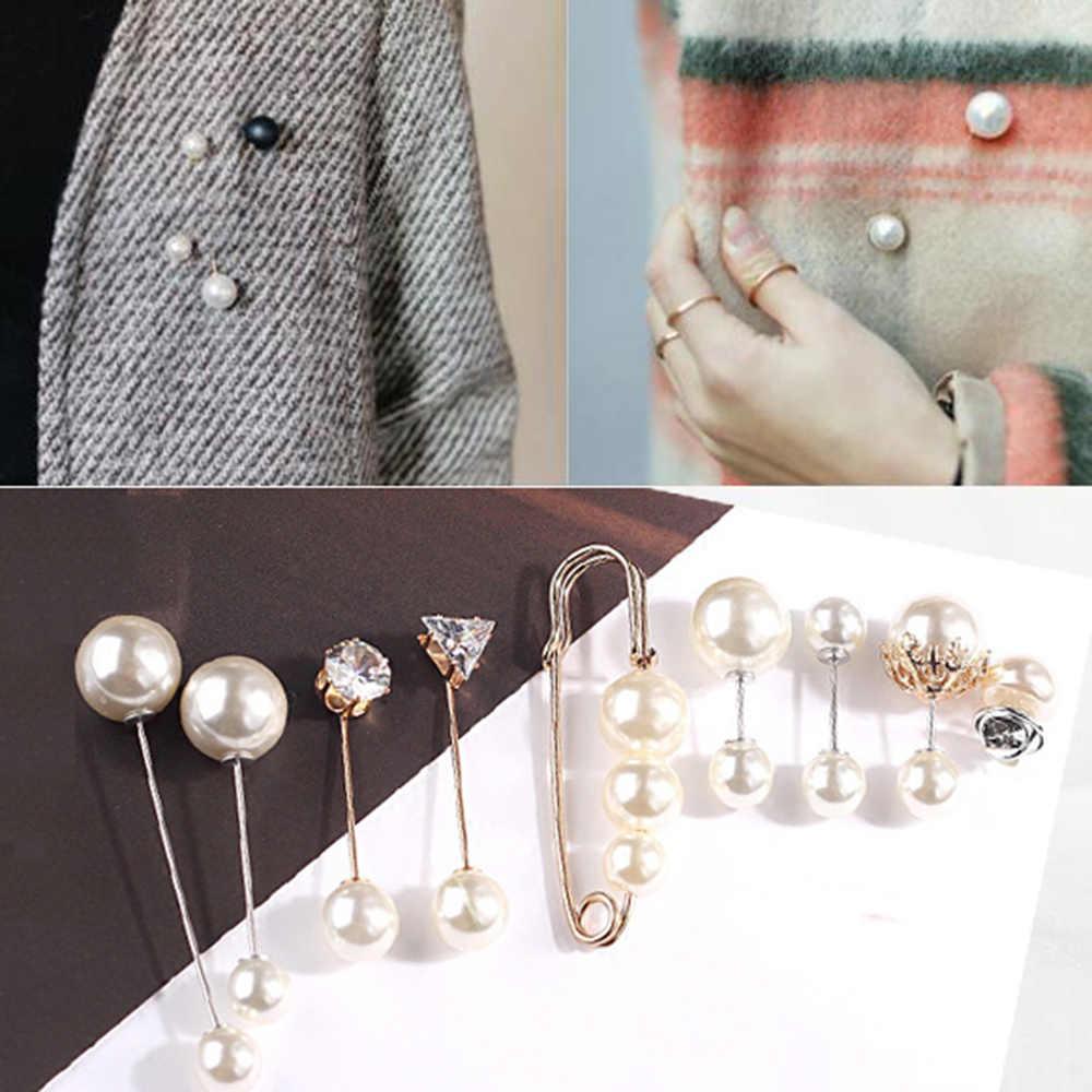 3Pcs/4Pcs Wanita Fashion Bros Set Mutiara Bros Pin Lencana Sweter Mantel Dekoratif Perhiasan Pin Bros untuk Wanita