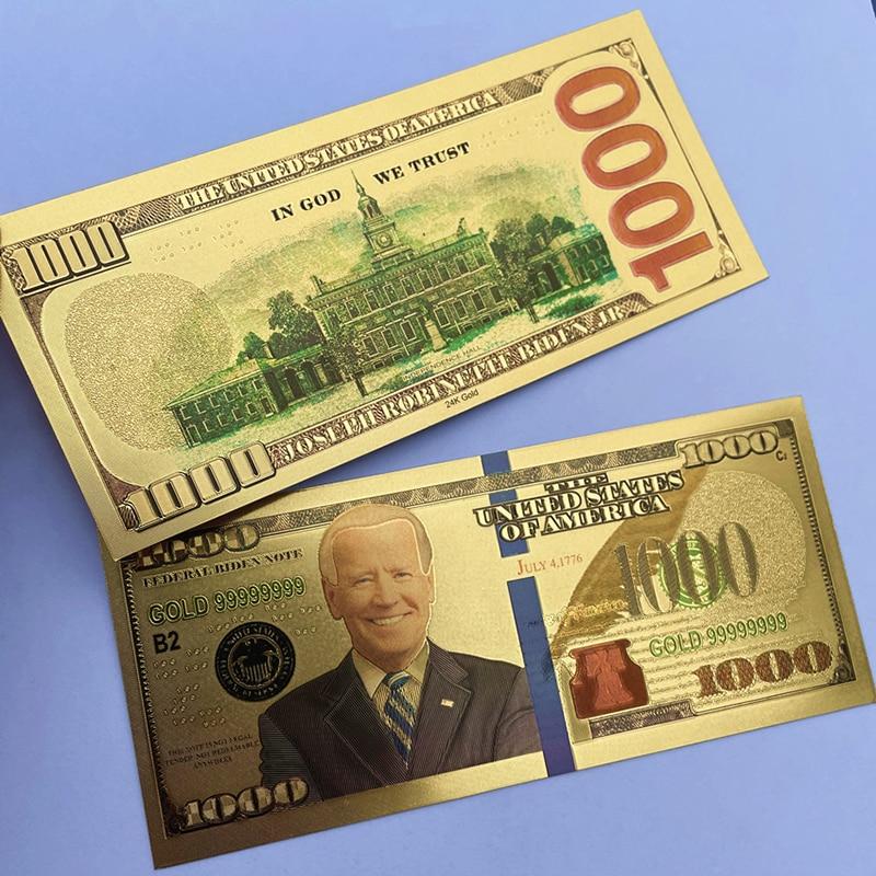 Позолоченная памятная банкнота Biden с изображением президента Америки, античная Черная Золотая фольга, 1000 долларов США, 1 шт.