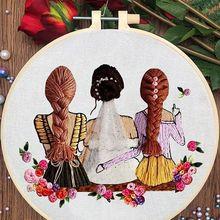 Набор цветов для рукоделия в Европейском стиле, набор лент для вышивания для начинающих с настилом для вышивки, набор для шитья крестом, рук...