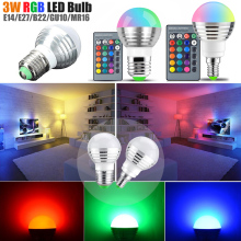 LED Spot Bulbs RGB LED Bulb E27/E26/E14/B22/GU10/MR16 IR Remote Control changing 16 Colors Bulb Lamp AC85-265V 3W D40