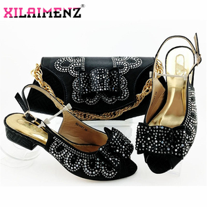 Image 4 - Red High Quality African Woman Sandals Shoes With Purse Set Italian Elegant High Heels Shoes And Bag Set For Wedding Party