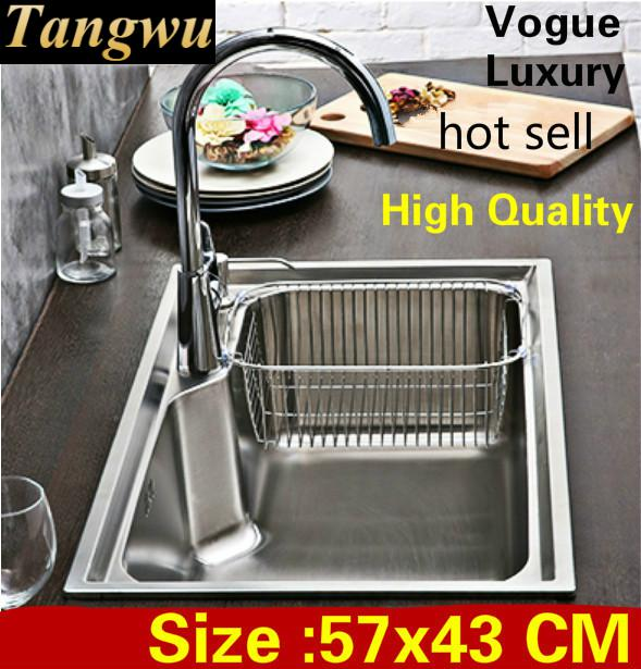 Free Shipping Apartment Luxury Kitchen Single Trough Sink High Quality Wash Vegetables 304 Stainless Steel Hot Sell 57x43 CM