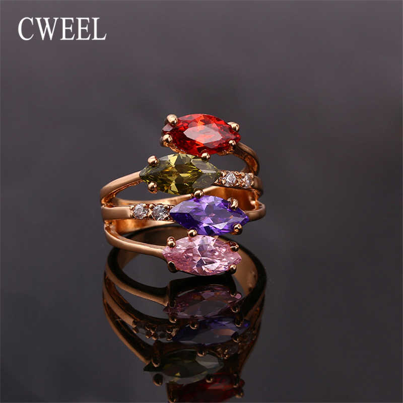 CWEEL Classic Engagement Ring For Women Cubic Zircon Fashion Wedding Finger Rings Jewelry Female