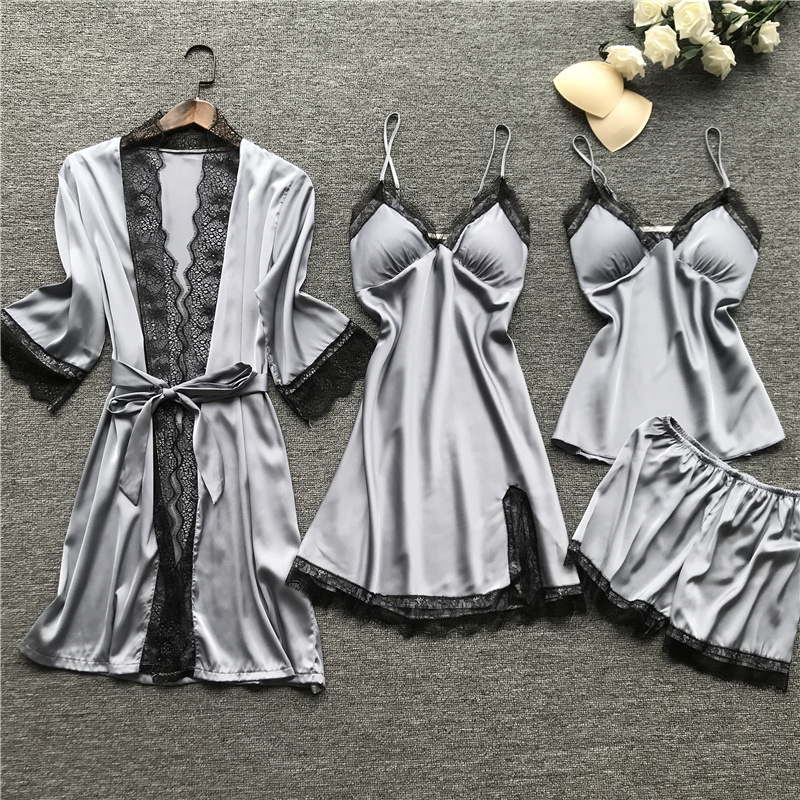 Image 4 - Plus Size 2XL 2019 Women Pajamas Sets Satin Sleepwear Silk 4 Pieces Nightwear Pyjama Spaghetti Strap Lace Sleep Lounge PijamaPajama Sets   -