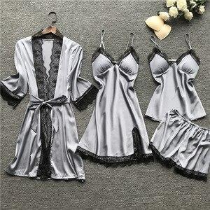 Image 4 - Plus Size 2XL 2019 Women Pajamas Sets Satin Sleepwear Silk 4 Pieces Nightwear Pyjama Spaghetti Strap Lace Sleep Lounge Pijama
