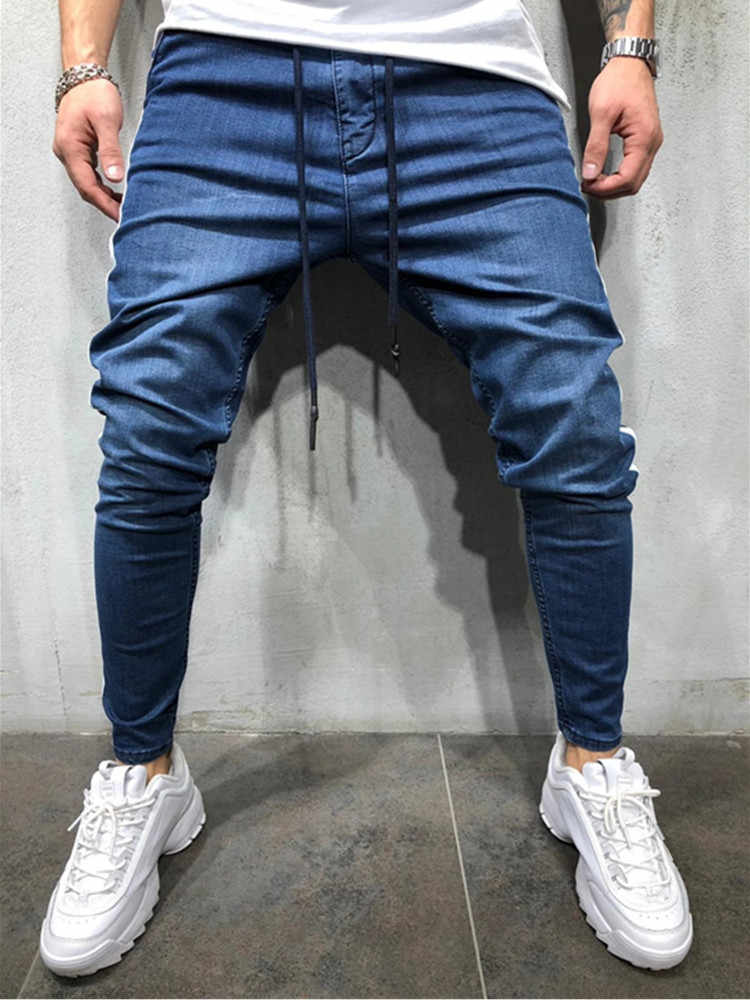 Mens Skinny Jeans 2019 Super Skinny Jeans Men Non Ripped Stretch Denim Pants Elastic Waist Big Size European Hip hop casual jean
