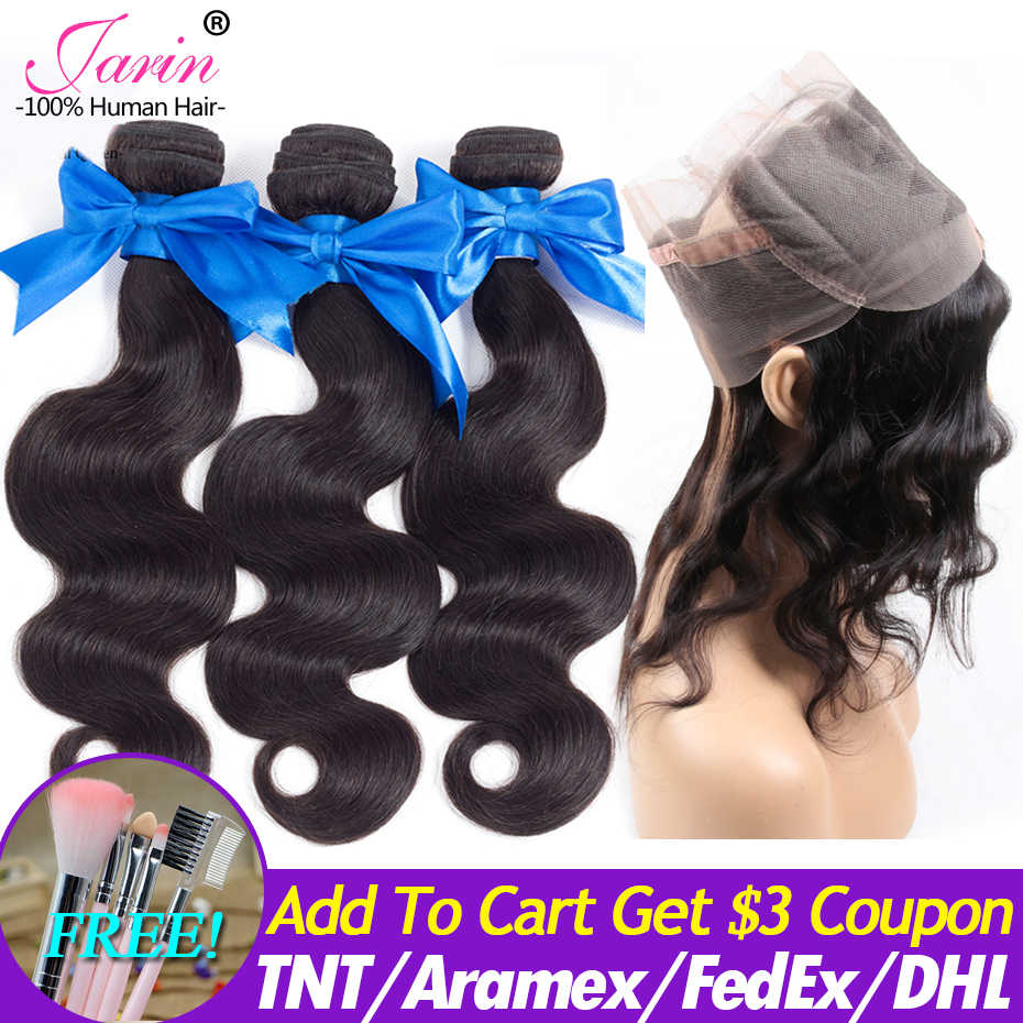 Bundles With 360 Lace Frontal Closure Malaysian Body Wave Hair 3 Bundles With Closure Human Hair Extension 100% Remy Jarin Hair