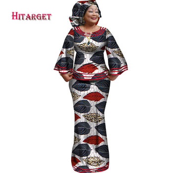 Hitarget 2020 New African Loose Kanga Dresses for Women Dashiki Traditional Cotton Top Skirt Set of 3 pieces Clothing WY2372