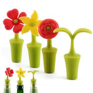 Bar Tool Portable Champagne Beverage Supplies Bottle Caps Silicone Flower Shape Wine Bottle Stopper Non-toxic Kitchen Gadgets