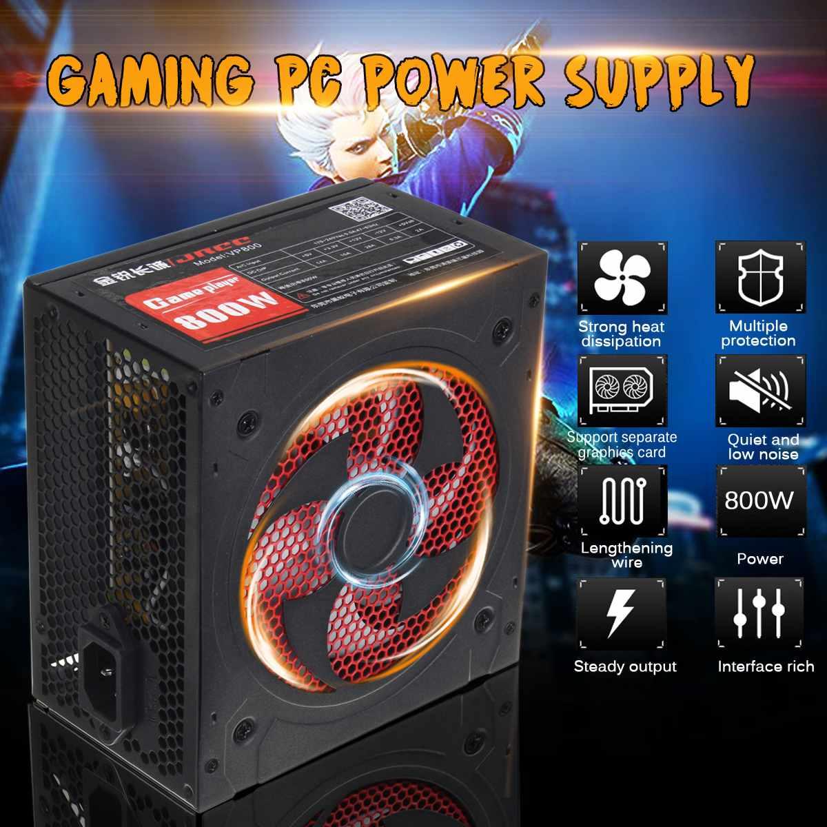 800W Gaming PC Power Supply PFC Silent Fan ATX 20+4pin 12V PC Computer SATA Gaming PC Power Supply Eu For Full Platform