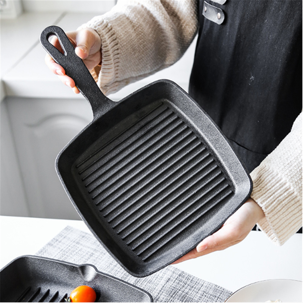 Pan Cast Iron Cauldron Steak Skillet Grill Pan Gas Stoves Non-stick Frying Pans Home Garden Wok Pan Stripe Thick-bottomed Pans 1