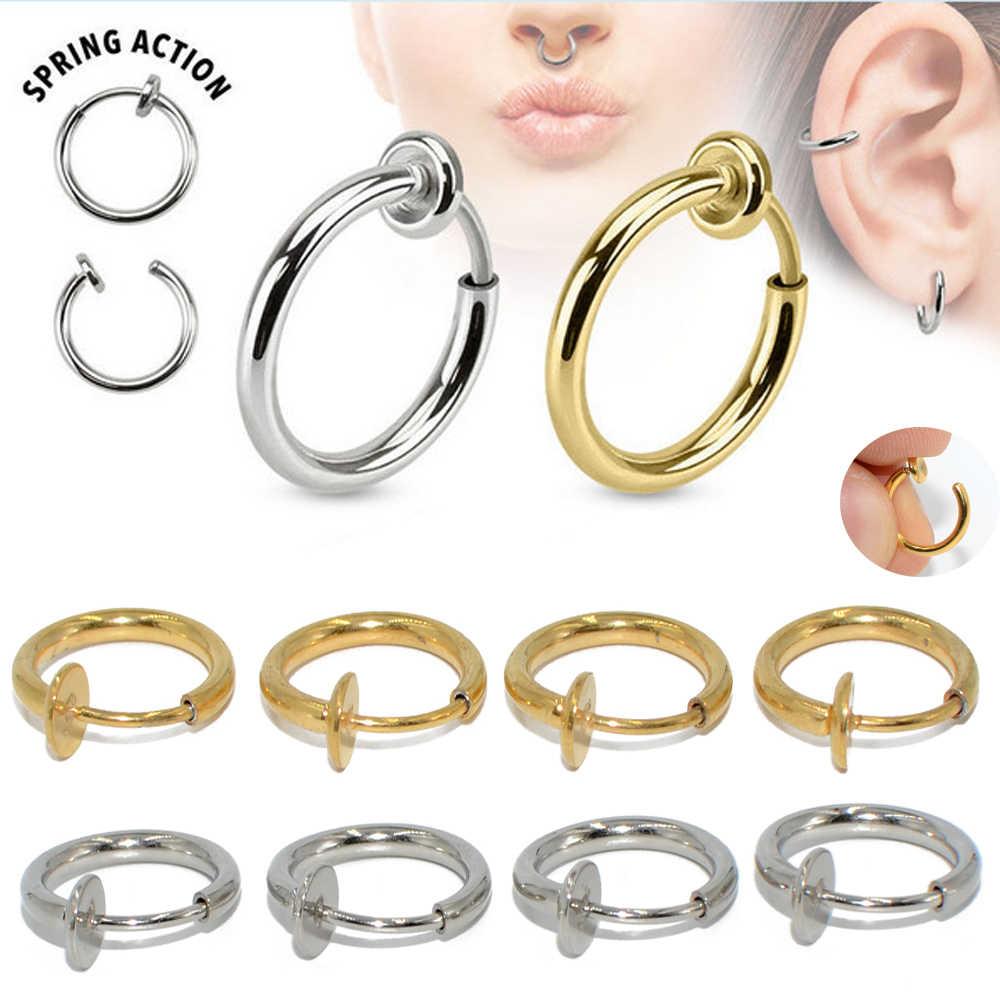 16g זוג כירורגי פלדה מזויף אביב קליפ על האף טבעת חישוק שפתיים טבעת Helix טבעת חישוק Labret נשלף עגילי אבזרים