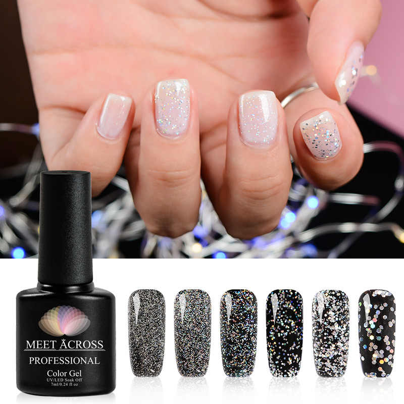 Bertemu Di 7 Ml Silver Hologram Glitter Gel Rendam Off UV LED Gel Polandia Mengkilap Gel Kuku Pernis Kuku art Lacquer