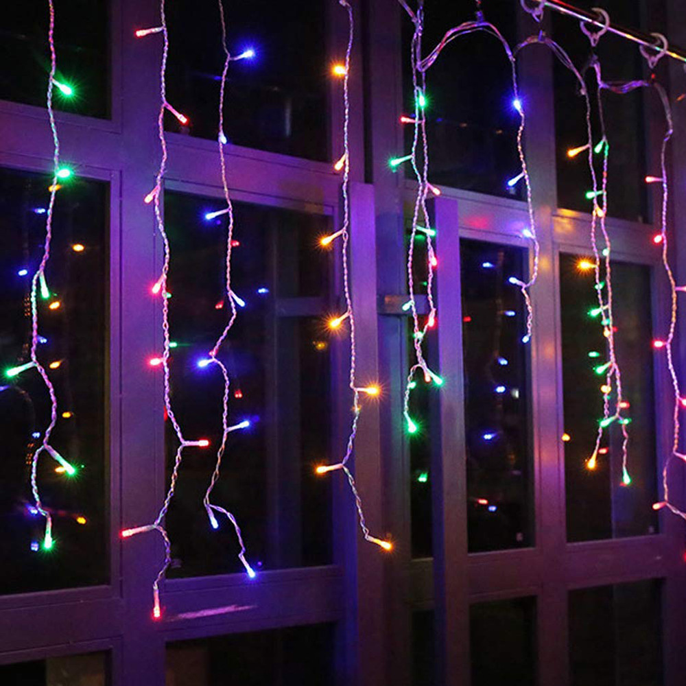 3.5M /5M LED Curtain Icicle String Light 110V/220V Christmas Garland Waterproof Outdoor Wedding Party Garden Decorative Light