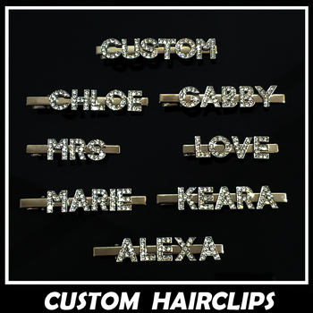 Gold Plated Hair Clips Name Hairclips Rhinestone Word Bobby Pins Custom Hair pins Hair Accessories радиолампа jj electronic 6386 l gold plated pins