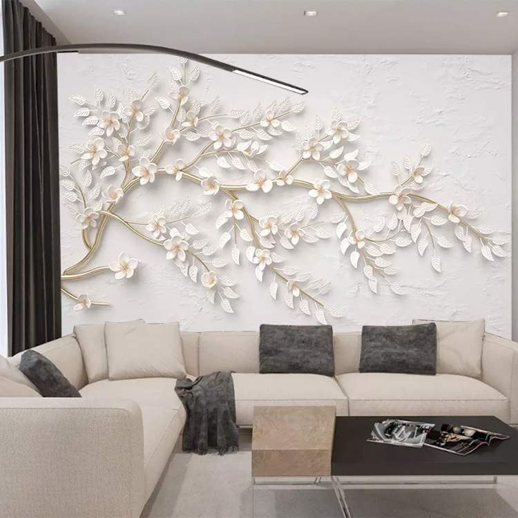 Seamless Wallpaper Gold Branch White Flower 3D Relief TV Backdrop Living Room Decoration Mural Wallpaper
