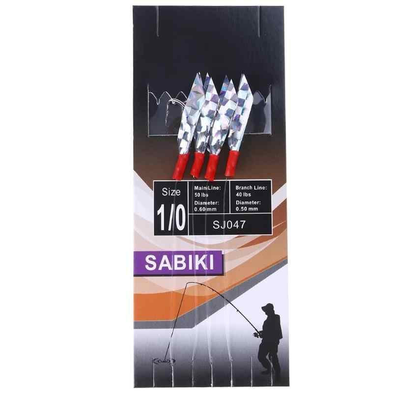 مجموعة مكونة من 4 قطعة/المجموعة من خطافات الصيد الشائكة طراز Sabiki 1/0 مزودة بذيل ورقي ليزر وخيط صنارة لصيد الأسماك الطعم الناعم الاصطناعي المزيف