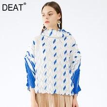 DEAT 2021 New Autumn Fashion felpa a pieghe da donna manica lunga dolcevita Casual sciolto selvaggio sottile Pullover Design TX808