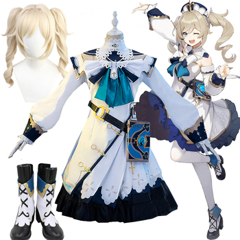 NEW Anime Genshin Impact Barbara Cosplay Costume Shoes Wigs Uniform Outfit Women Game Halloween Party Dress Full Set 1