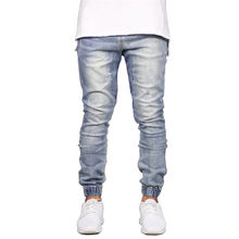 Fashion Stretch Men Jeans Denim Jogger Design Hip Hop Joggers For Men 2019 Men's Stretchy Ripped Skinny Biker Jeans Size 29-38(China)