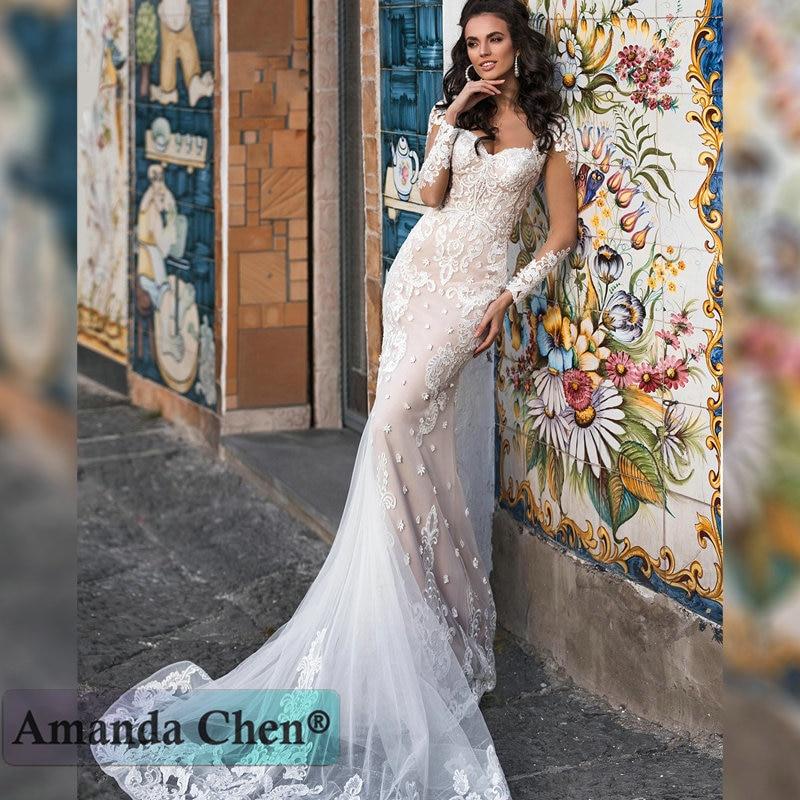 Robe De Mariee Long Sleeve Lace Appliques Mermaid Wedding Dress