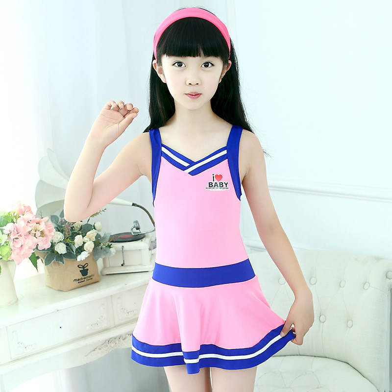 CHILDREN'S Swimwear Girls Qmilch Plain Color GIRL'S Students Conservative Skirt Big Boy Swimwear