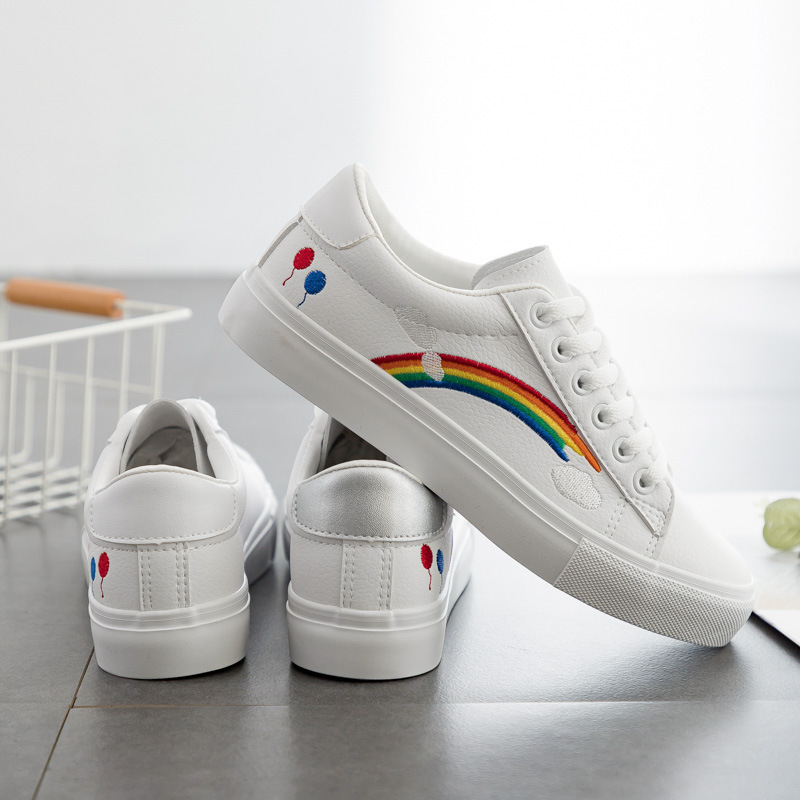 Woman's Shoes Spring New Fashion Casual Rainbow Solid PU Leather Shoes Women Casual White Shoes Leather Sneakers High Quality