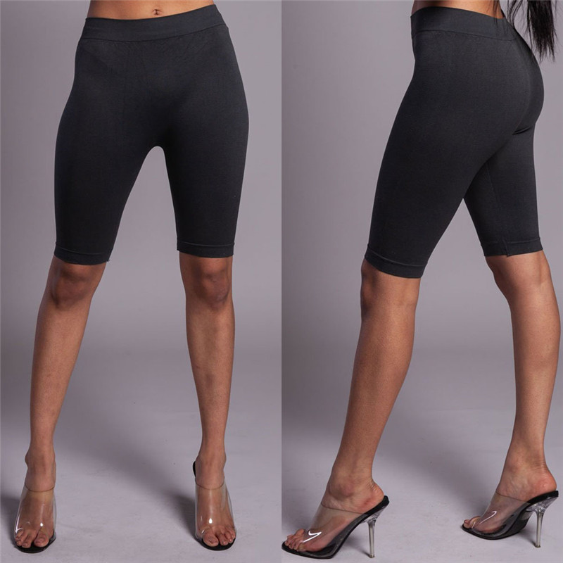 Casual Women Knee Length Leggings Solid Black Gray Crop Wide Waistband Cycling Short Leggings Summer Modern Women Short Trousers