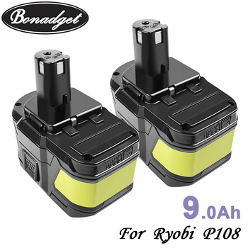 Bonadget Replacement For Ryobi 18V 9000mAh 6000mAh P108 Battery RB18 Lithium Ion Rechargeable Battery New Power Tools Battery eleoption with charger 18v 5000mah li ion rechargeable battery for ryobi 18v battery and charger p108 p310 for one biw180