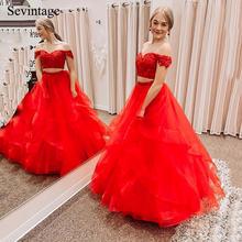 Sevintage длинные красные платья выпускного вечера 2 в 1 с коротким