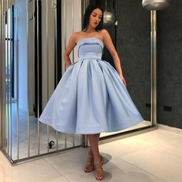 2020 New Short Homecoming Dress Cocktail Dresses Light Blue Strapless A Line Pleat Satin Prom Party Gowns Cheap