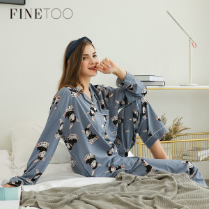 FINETOO Women Lovely Rabbit Pajama Sets Autumn Winter Pants Cotton Cartoon Sexy Pajamas Women Homewear Animal Female Sleepwear