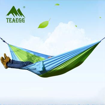 Nylon dla dwóch osób hamak dla dorosłych Camping Outdoor Backpacking Travel Survival huśtawka ogrodowa łóżko myśliwskie przenośny hamak tanie i dobre opinie TEAEGG Violet Golden gray blue 300KG 260*140cm