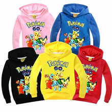 Autumn and winter cotton children's pullover shirt Pokemon cartoon high print black hoodie Naruto sweater girl boy clothing(China)