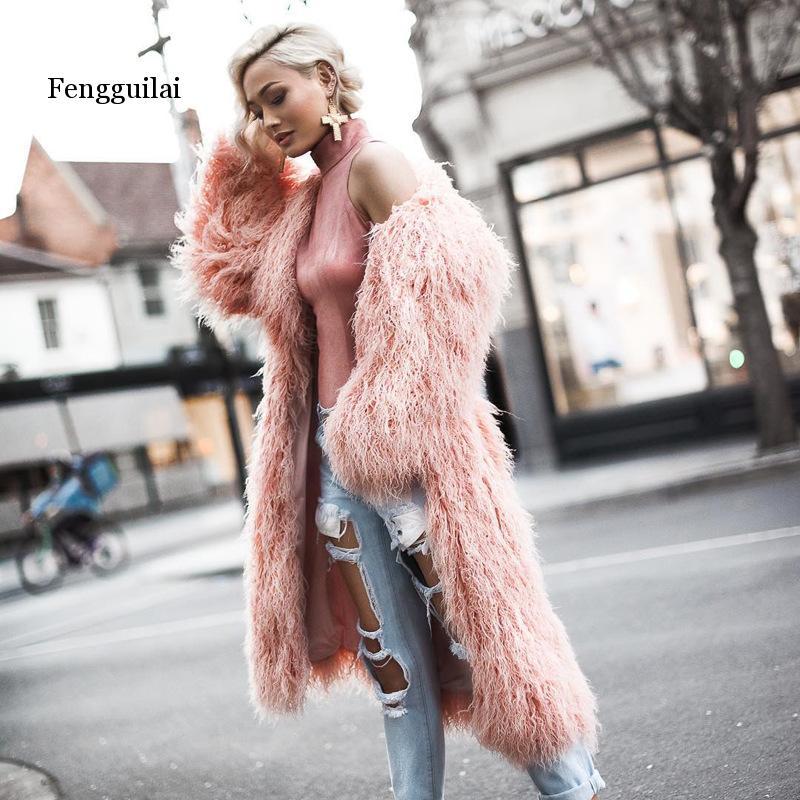 Fashion Furry Faux Fur Coat Women Fluffy Warm Long Sleeve Female Outerwear Autumn Winter Coat Jacket Hairy Collarless Overcoat