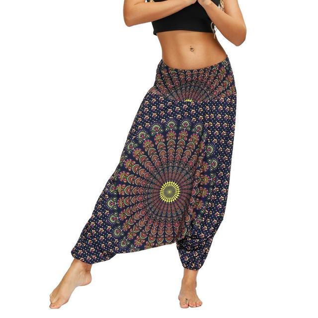 Ladies Boho Harem Pants Blue Mandala 14