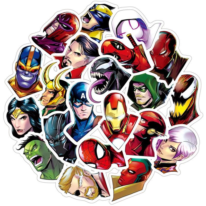 50PCS Super Hero Stickers Marvel Sticker Skateboard Motorcycle Luggage Stickers For Laptop Waterproof Superhero Sticker