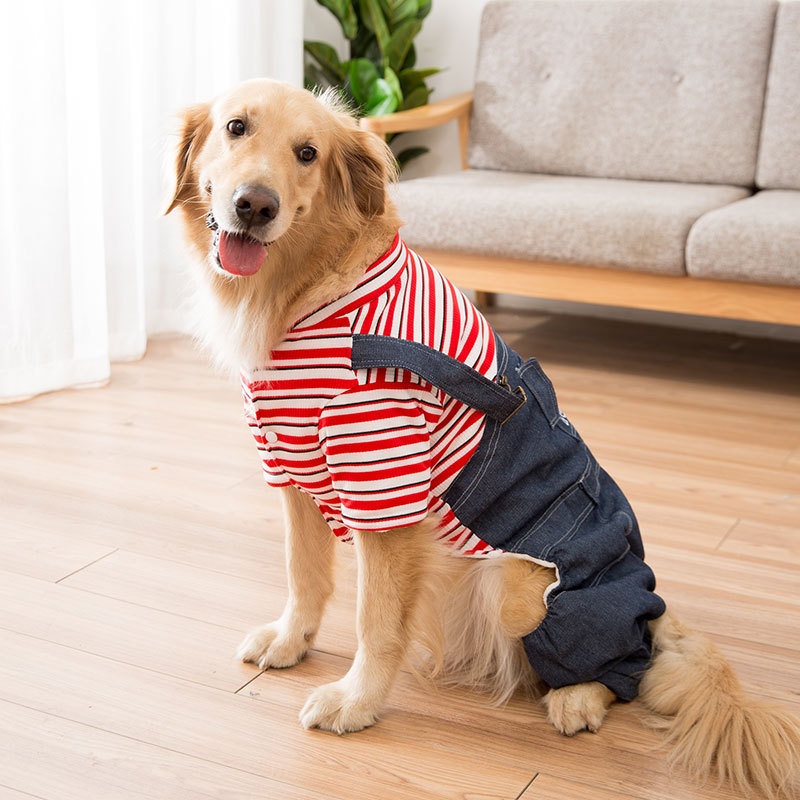 2021 spring and autumn models big dog clothes striped overalls simple personality big dog four-legged dog jacket