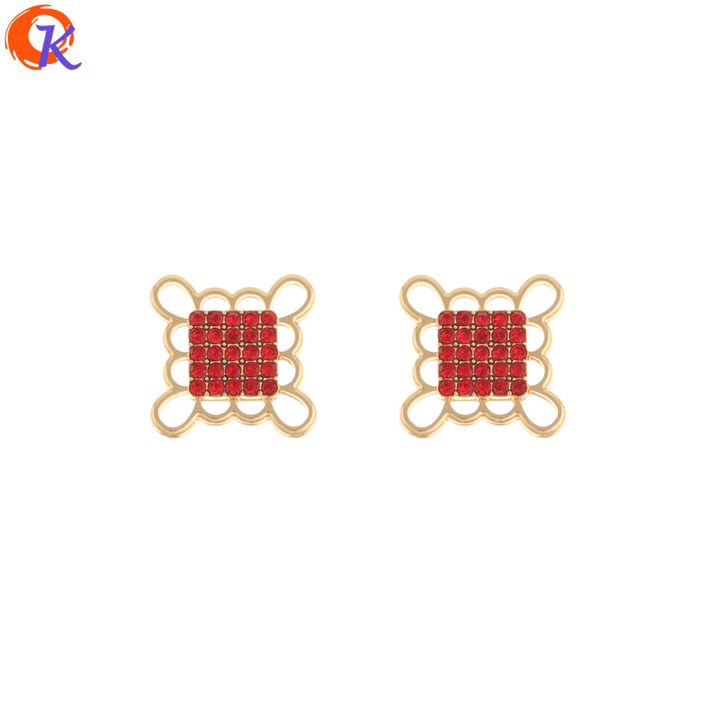 Cordial Design 50Pcs 13*13MM Jewelry Accessories/Rhinestone Charms/Earrings Connectors/DIY Making/Hand Made/Earring Findings