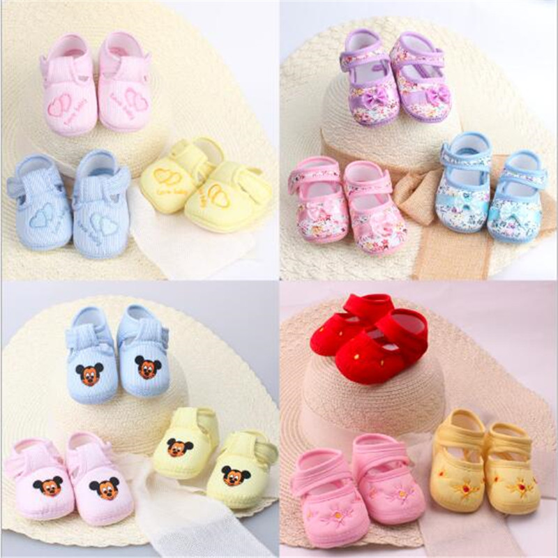 Baby Shoes Cute Baby Girls Lovely Floral First Walkers Toddler Infant Boy Comfort Soft Sole Prewalker Shoes Antislip Crib Shoes