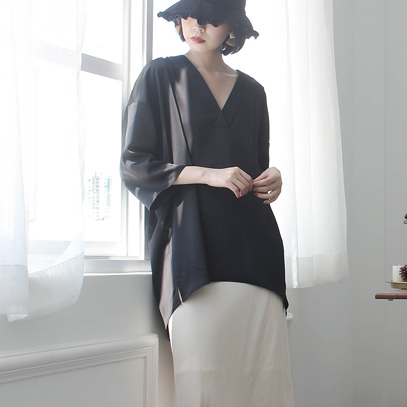 [EAM] Women Black Brief Asymmetrical Big Size Long T-shirt New V-Neck Long Sleeve  Fashion Tide  Spring Autumn 2020 JK987 4