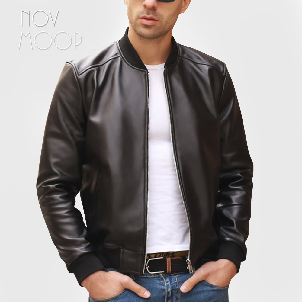 Black Men Genuine Leather Real Lambskin Motorcycle Biker Bomber Jackets Coats Jaqueta De Couro Deri Ceket Plus Size 5XL LT2065