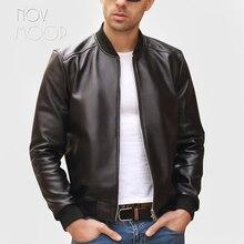 Noir hommes en cuir véritable véritable peau dagneau moto motard bomber vestes manteaux jaqueta de couro deri ceket grande taille 5XL LT2065