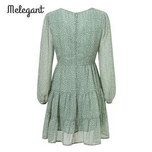 Image 5 - Melegantแขนยาว 2019 ชุดฤดูหนาวฤดูใบไม้ร่วงผู้หญิงสั้นRuffles Femme ElegantสีเขียวสุภาพสตรีชุดชีฟองVestidos
