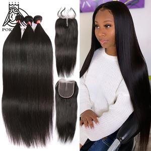 28 30 40 inches brazilian hair weave Straight 3 4 bundles with lace closure Frontal 100% Human Hair Double Drawn Bundles Remy
